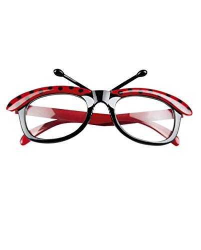 Jacobson Hat Company Ladybug Glasses Adult Costume Accessory Black Red Polka Dot Antennae Clear Lense
