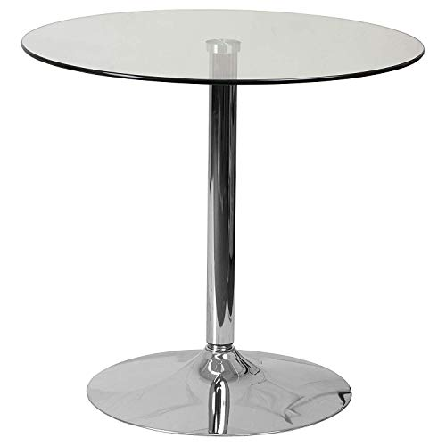 DK Furniture 31.5'' Round Glass Table with 29''H Chrome Base