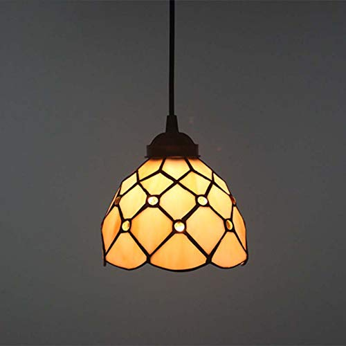 QCKDQ 12 Inch Tiffany Style Chandelier, Stained Glass Gem Ceiling Lights,Suitable for Living Room Bedroom Decoration E27,MAX40W,Hangingwire,16A