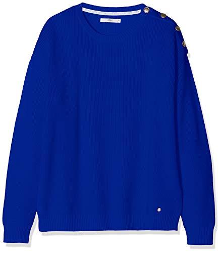 Mit Lisa Femme 25 Brax Blue Baumwollpullover olympic Pull Schmuckknöpfen Blau E7vxX4dqwx