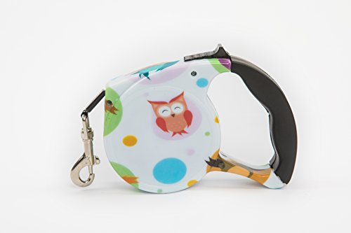 Prelly Retractable Dog Leash by Top Quality Locking System and ABS Plastic Retractable dog Leash 16ft Dog Walking Leash with One Button Brake (owl) (Retractable Leash Plastic)