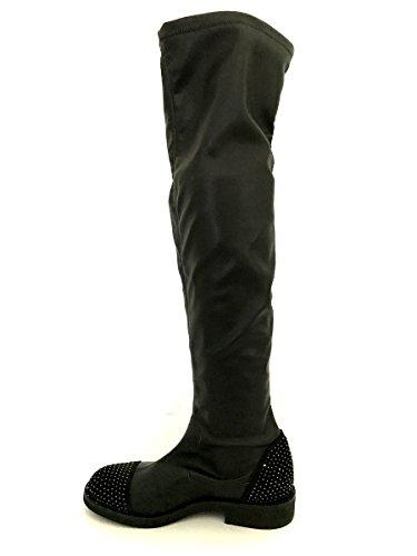 Divine Nero Stivali Elasticizzati Overknees Follie Pelle Strass In Mainapps Pq8Xawq