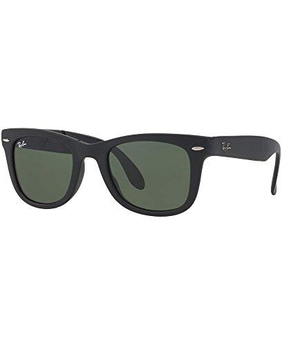 Ray-Ban RB4105 Folding Wayfarer Sunglasses Black/Crystal Green Polarized 50mm