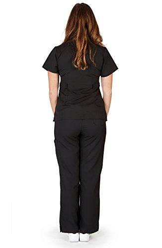 Ultra Soft Brand Scrubs - Premium Womens Junior Fit 3 Pocket Mock Wrap Scrub Set, Black 37906-Large by ULTRASOFT SCRUBS (Image #1)