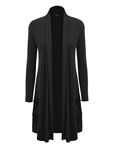MBJ Womens Solid Long Cardigan with Pockets XL Black