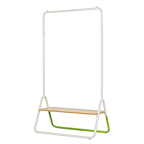 Creatwo Garment Rack with Wood Shelf Portable Metal Clothes Rack Laundry Clothes Drying Rack, White/Green by Creatwo (Image #1)
