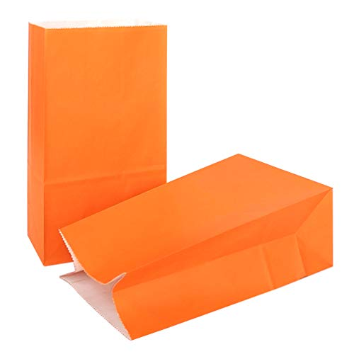 KIYOOMY 100 CT Party Favor Printed Paper Gift Bags Orange Kraft Paper Bags School Snack Bags for Kid's Halloween Party Gift Giving Bags