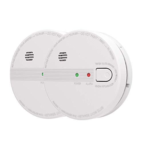 AIKO GS518 Smoke and Fire Alarm, Hardwired, Interconnect Photoelectric Sensor Smoke Alarm with Battery Backup and Smart Hush, Ul Listed, White Pack of 2