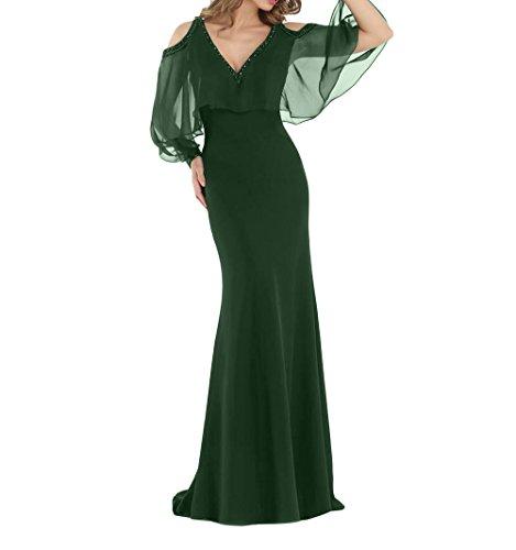La Etuikleider Gruen Festlichkleider Lang Partykleider Brau Elegant Trumpet Abendkleider Brautmutterkleider mia Dunkel Meerjungfrau qIrTqSwH
