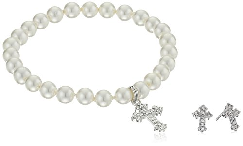 - Girls' Petite Simulated Pearl Bracelet with Sterling Silver Czech Crystal Cross Charm and Matching Stud Earrings Set