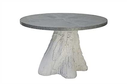 Pure Tin Table Top With Resin Tree Trunk Base