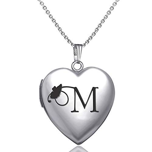 (MUERDOU Locket Necklace That Holds Pictures Initial Alphabet Letter Heart Shaped Photo Memory Locket Pendant Necklace (M))