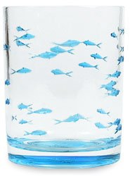Stotter & Norse Acrylic Blue Fish Double Old Fashioned Glass 13.5 Oz.