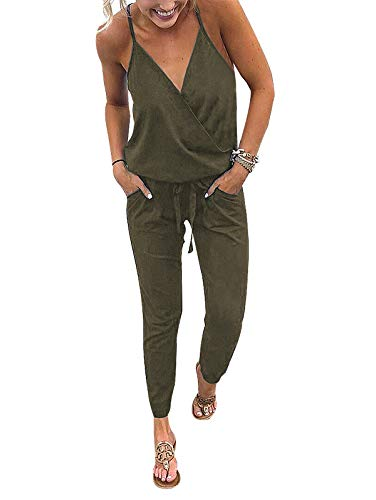 Adibosy Women V Neck Jumpsuits Overalls Strap Sleeveless Summer Casual Playsuit Rompers with Pockets Green XL