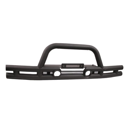 Rugged Ridge 11561.11 Textured Black Front Tube Bumper with Grill Guard ()