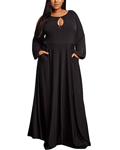 LALAGEN Womens Casual Long Sleeve Solid Plus Size Evening Party Long Dress Black XL