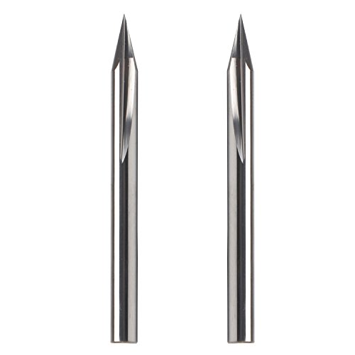 Metal Engraving Bit, EnPoint Carbide Tough Tip Cone Shape Metal Engraving Bit with 2-Flute Striaght Grooves 1/8'' 3.175mm Shank 0.1mm Tip 30° CNC Marking Conical V-Bit for Steel Aluminum Brass MDF Wood by EnPoint (Image #4)