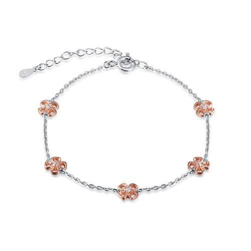 FREECO Anklet for Women Girl S925 Sterling Silver Infinity Heart Flower Charm Adjustable Foot Ankle Bracelet 10 inch (Flower)
