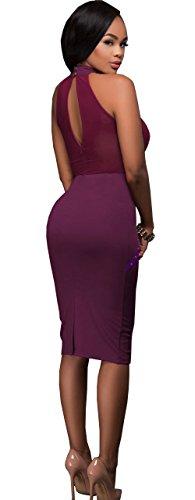 Club Women's Mesh Aecibzo Dresses Sleeveless Mini Cocktail Purple Bodycon Rivets dYgdC7wq