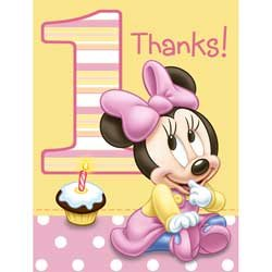 minnie mouse 1st birthday 8 pack party thank you cards with