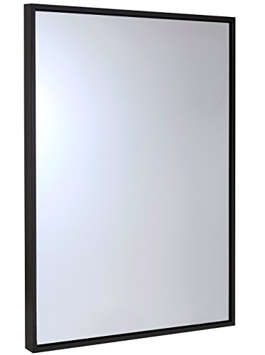 (Hamilton Hills Clean Large Modern Wenge Frame Wall Mirror | Contemporary Premium Silver Backed Floating Glass Panel | Vanity, Bedroom, or Bathroom | Mirrored Rectangle Hangs Horizontal or Vertical)