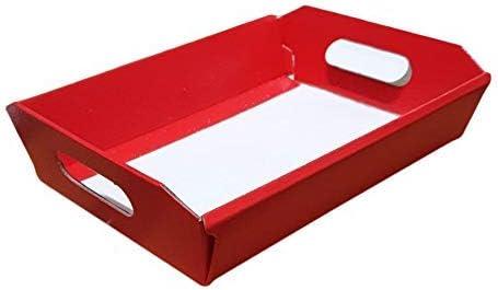 10 Pezzi Cesto Carta Cartone Pelle Rossa Grande 520x410H135 Strenne Cesti Natalizi di Natale Enogastronomia Small Red Leather Cardboard Box