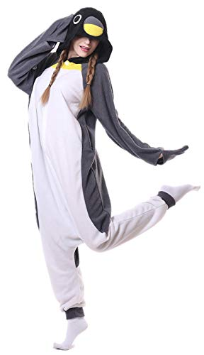 Kafferin Sleepwear Unisex Adult Costume Cartoon Cosplay Party Nightgowns Pajamas Onesies (Large, Grey Penguin) for $<!--$22.99-->