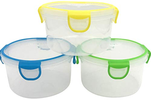 Travel Bowl Plastic - Snap Fresh - 3 Pack of 1 Liter (33.8 fl oz) BPA-Free, Reusable, Storage, Lunch and Travel Containers with Snap Close Lids and Silicone Seal. Perfect Bowls for Salads, Fruit & Food Snacks.