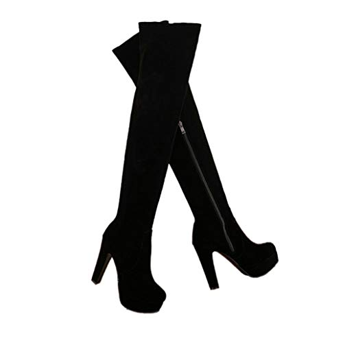 ODOKAY Faux Suede Boot Chunky High Heel Over The Knee Shoes Platform Side Zipper Winter Black Red Thigh Boots