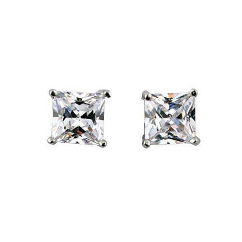 IDS CZ Cubic Zirconia Clear Square Magnetic Clip On Stud Earrings for Men, Women, Unisex, 10MM, 1 Pair