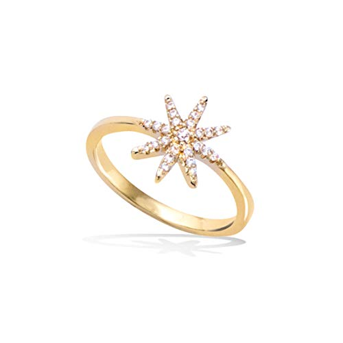 FANCIME 14K Gold Filled CZ Cubic Zirconia Star Wedding Band Ring Fashion Jewelry Gift for Mom Women Mother's Day, Size 6
