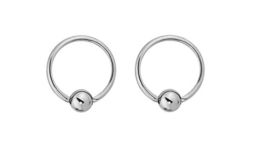 Forbidden Body Jewelry Pair of Every-Day Piercing Rings: 16g 8mm Surgical Steel Captive Bead Hoop Rings, 3mm - 16g Captive Ring