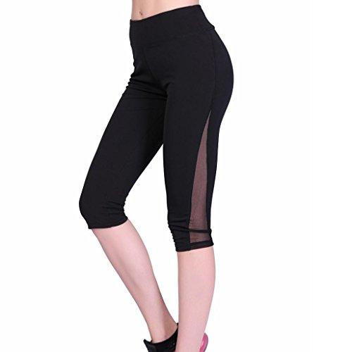 HARRYSTORE 2017 Verano Mujeres Leggings flacos de malla de rejilla Yoga Leggings Fitness Sports Pantalones Negro