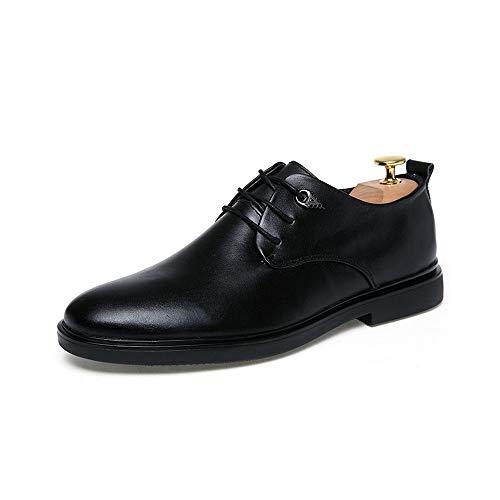 Noir 42 EU LIU-YUNE, Chaussures Derby d'affaires Formelle Oxford pour Hommes à Lacets Style Britannique Robe De Mariée en Cuir Bout Pointu Chaussures (Couleur   Noir, Taille   42 EU)