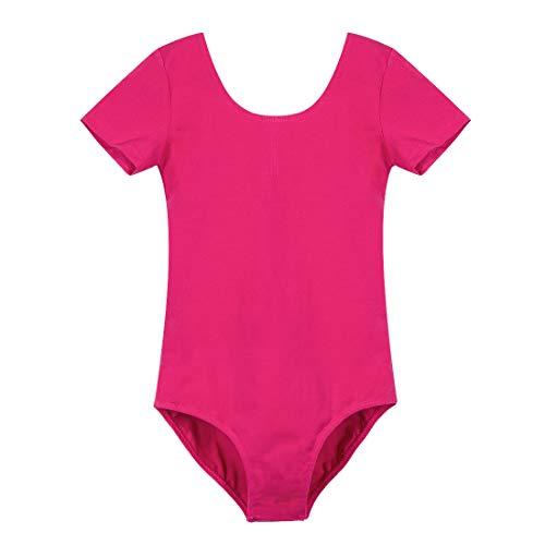 GetMine Leotards for Girls Ballet Dance Gymnatics Toddler Short Sleeve Leotard Rose Red(Snaps) ()