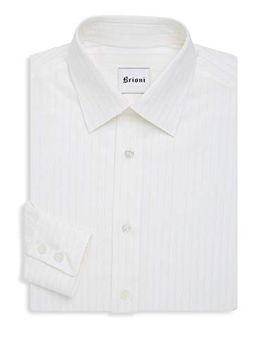 (Brioni New Men's Pinstripe Dress Shirt - White/Lemon Size 15/38)