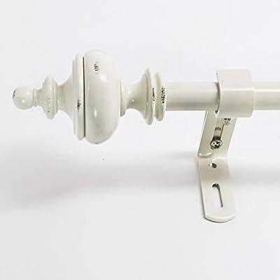 Montevilla 5/8-Inch Urn Window Treatment Rod Set, 48 to 86-Inch, Distressed White