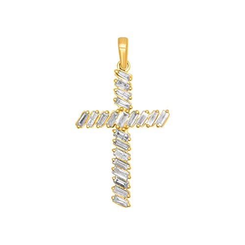 Baguette Yellow Cross - OMEGA JEWELLERY 10K Yellow Gold Baguette Shape Diamond Cross Pendant (0.61 Ct, Clarity-I2, Color-J)