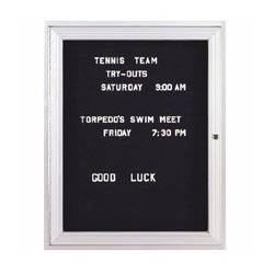 Ghent 36''x48'' 2-Door Outdoor Enclosed Vinyl Letter Board, Black, Satin Aluminum Frame by Ghent