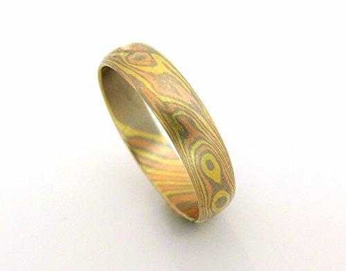 Mokume Wedding Ring - Mokume gane wedding band, 18k gold wedding band, Mokume gane ring, Unique wedding band, Tricolor ring, solid gold band, Mokume ring
