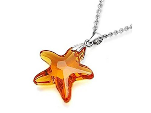 Finejewelers Sterling Silver Orange Color Crystal Starfish Pendant Necklace made with Swarovski Elements