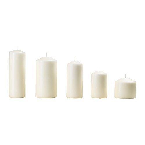 LGVSHOPPING Set 5 candele ceri lumini Fenomen Ikea senza profumo candela naturale bianco