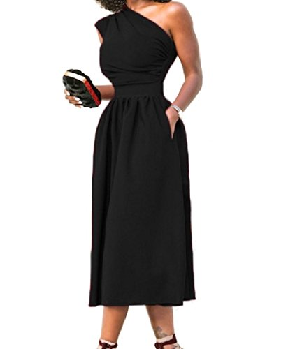 Big Length Solid Colored Black Full Dress Women Out Coolred Shoulder Pockets Cut 5Tw7qzx