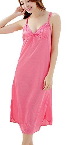 YICHUN largo Homewear camisón transparente de encaje de lazo de cuello en V sin mangas de la mujer Rosado