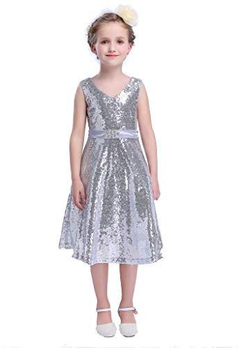 Bow Dream Lovely Lace V-Neck Flower Girl Dress Sequins Silver 7 ()