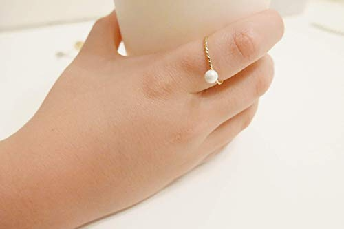Handmade Dainty Ring with White Pearl Glass Bead for Little Girl Birthday Mommy and Me Friendship Valentine's Kids Gift Delicate Adjustable Layered Jewelry Gift | Anillo para Niña - Nina Pearl