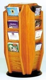 Wooden Mallet Cascade Spinning Countertop Display with 16-Brochure Pockets, Medium Oak by Wooden Mallet