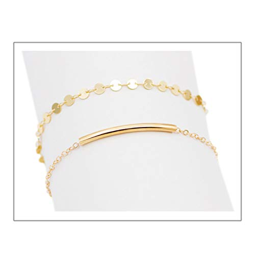 Zealmer Delicate Layered Gold Bracelet Set Disc Hand Bracelet with Curved Tube 2 Pieces