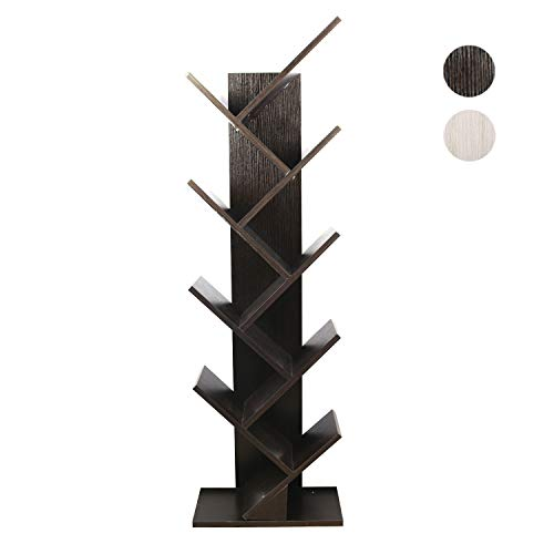 Berry Ave 9-Shelf Tree Bookcase – Compact Wooden Tree Bookshelf – Easy to Construct Bookshelf Tree – Ladder Shelf Bookcase to Display Your CD's, Movies, Books, and More – Black ()