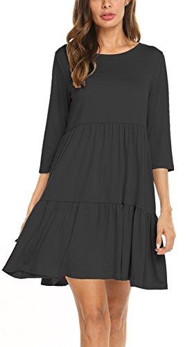 Newchoice Women's 3/4 Sleeve Empire Waist Loose Swing Ruffle T-Shirt Dress Pleated Mini Dress (XL, Black) - Waist Mini